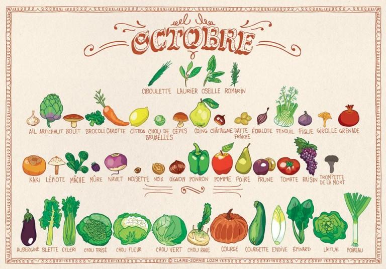 Fruits et légumes d'octobre